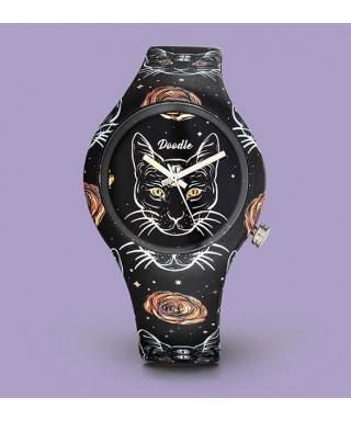Reloj Doodle 'Gato negro' DO39010