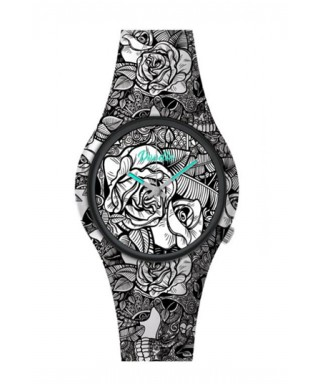 Reloj Doodle flores negras vintage DO39008