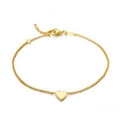 Pulsera de plata con corazón dorado